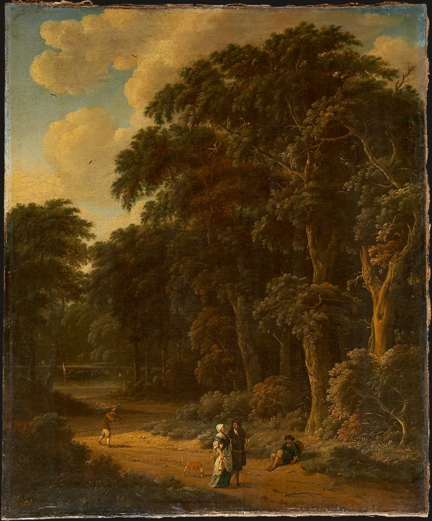 Forest Landscape with Forest Workers and People Strolling, Salomon Rombouts, Johannes Lingelbach