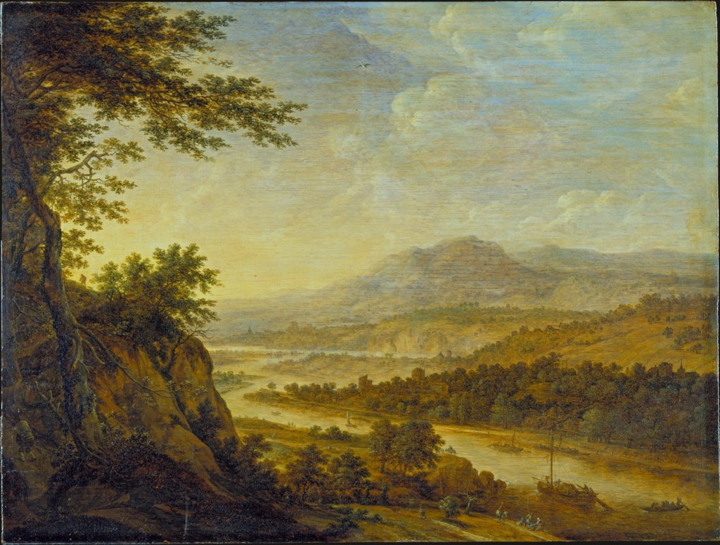 River Landscape with Rise of Cliffs, Herman Saftleven III
