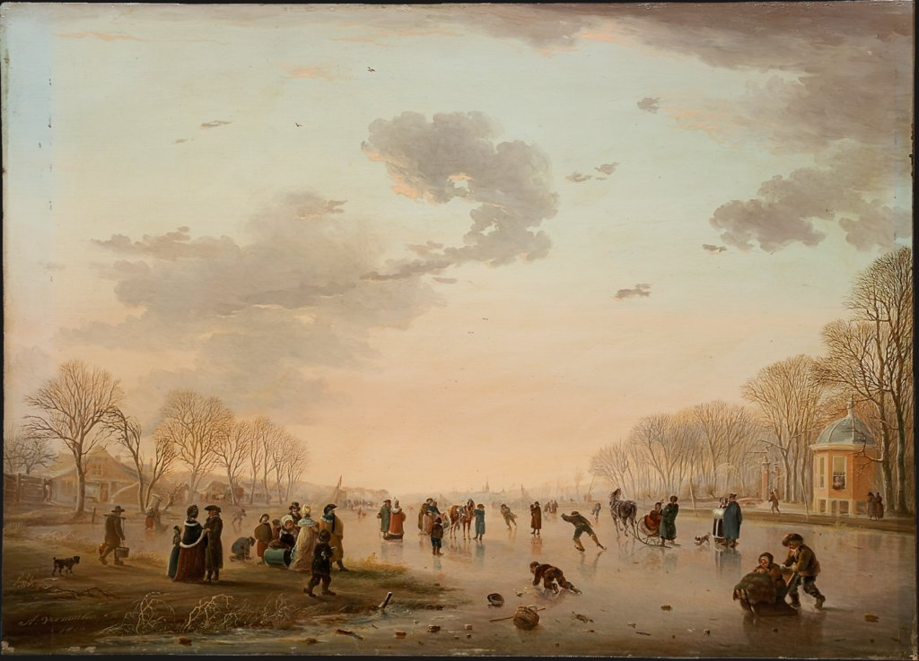 Winter Landscape with Ice Skaters on a River, Andries Vermeulen