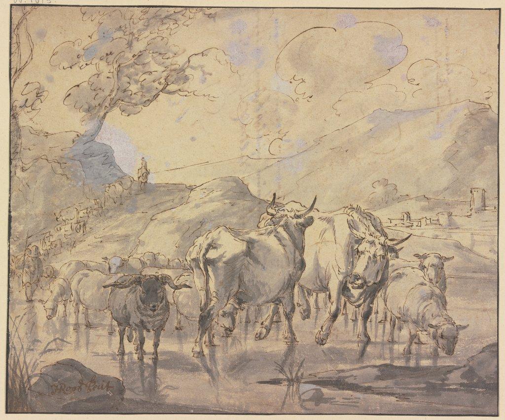 Eine Herde von Rindern und Schafen kommt einen Bergpfad herab zur ...