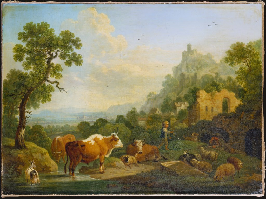 Landscape with Farm Animals at a Brook, Friedrich Wilhelm Hirt