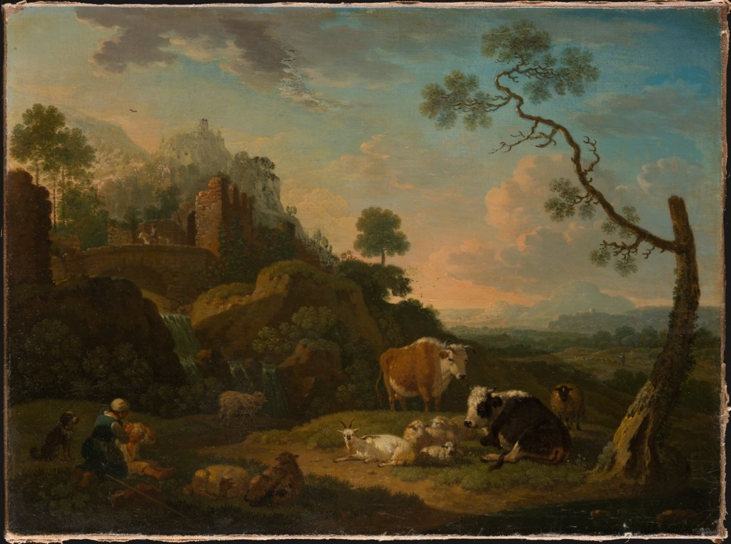 Landscape with a Herdswoman and Farm Animals, Friedrich Wilhelm Hirt