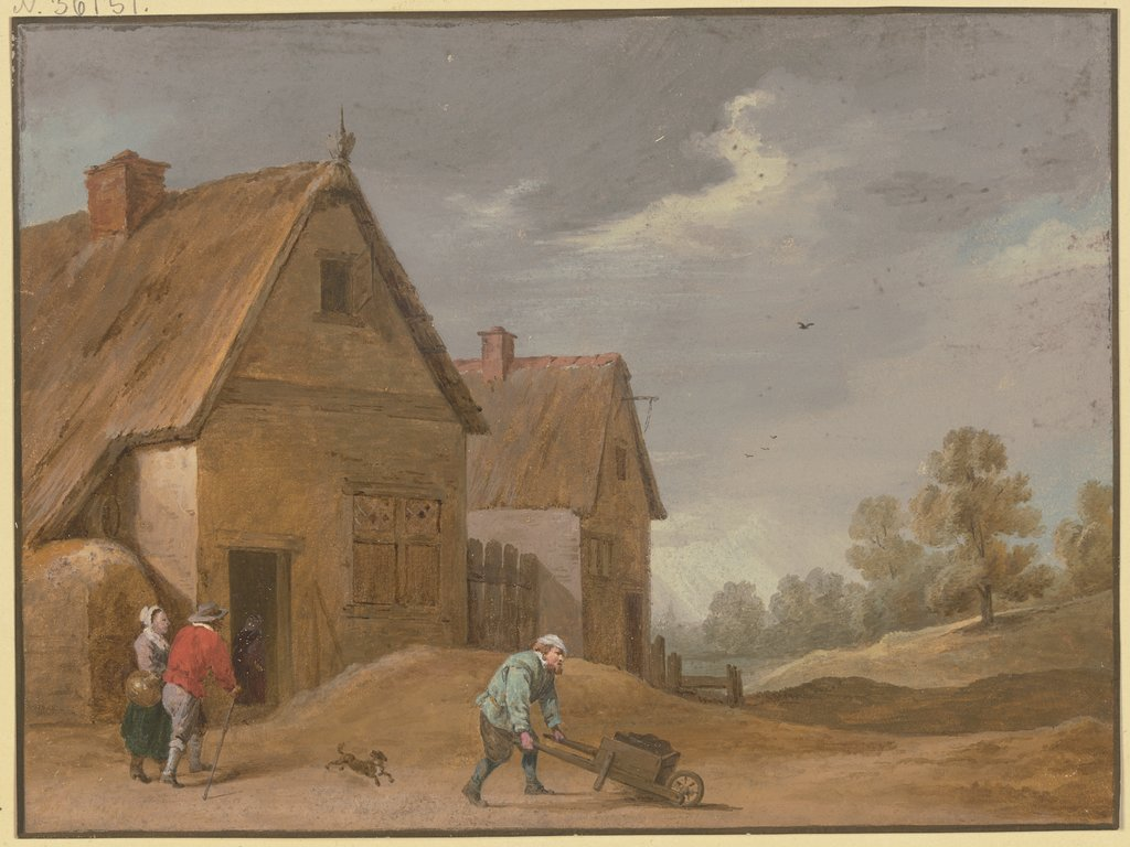 Village scene, Regnu, after David Teniers the Younger
