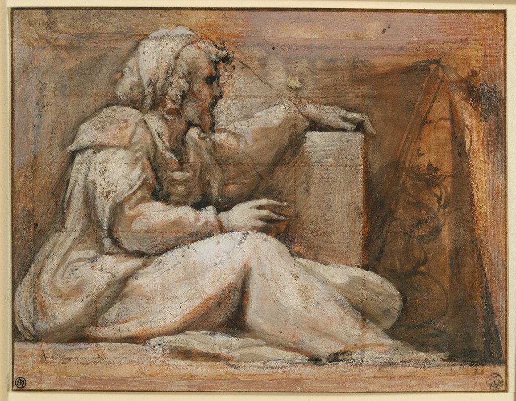 Seated Prophet with Book, facing right, Correggio