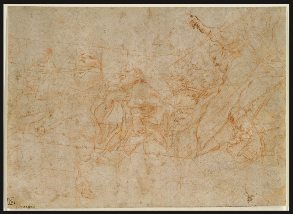 Detail study for the cupola fresco depicting the Assumption of the Virgin in the cathedral of Parma, Correggio