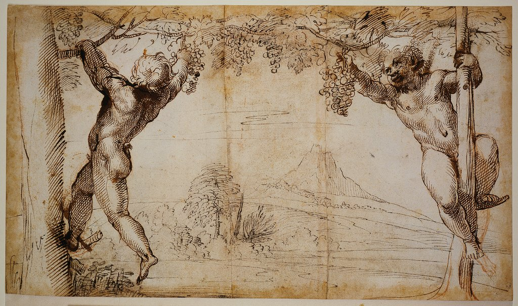 Two Young Satyrs picking Grapes, Annibale Carracci