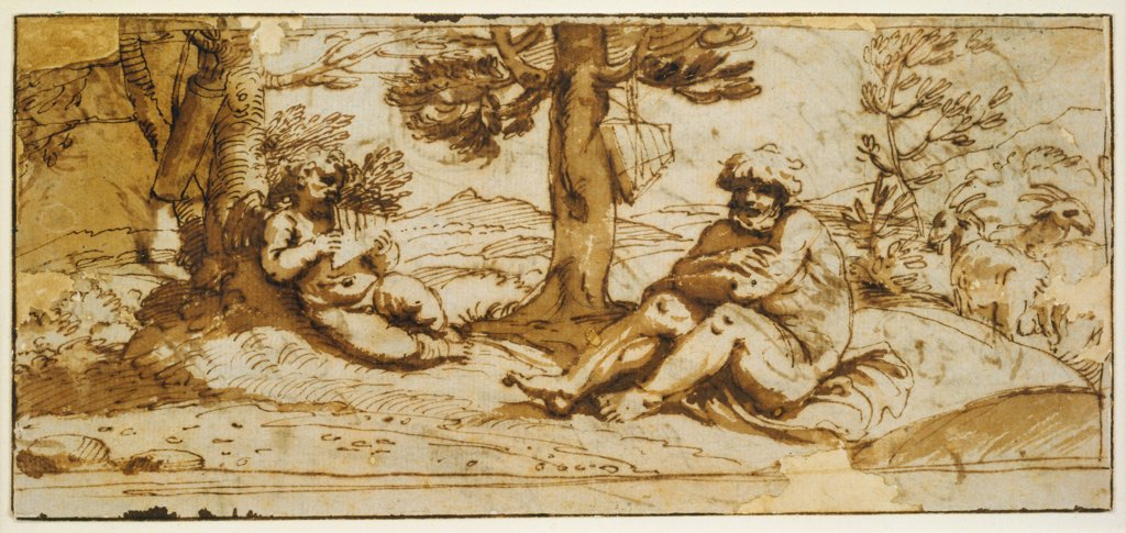 Amor, Playing the Flute, and Silen in an Arcadian Landscape, Annibale Carracci