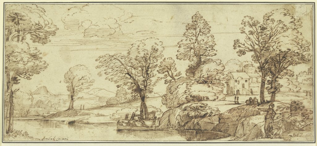 River Landscape with abandoned Boat, Annibale Carracci  circle
