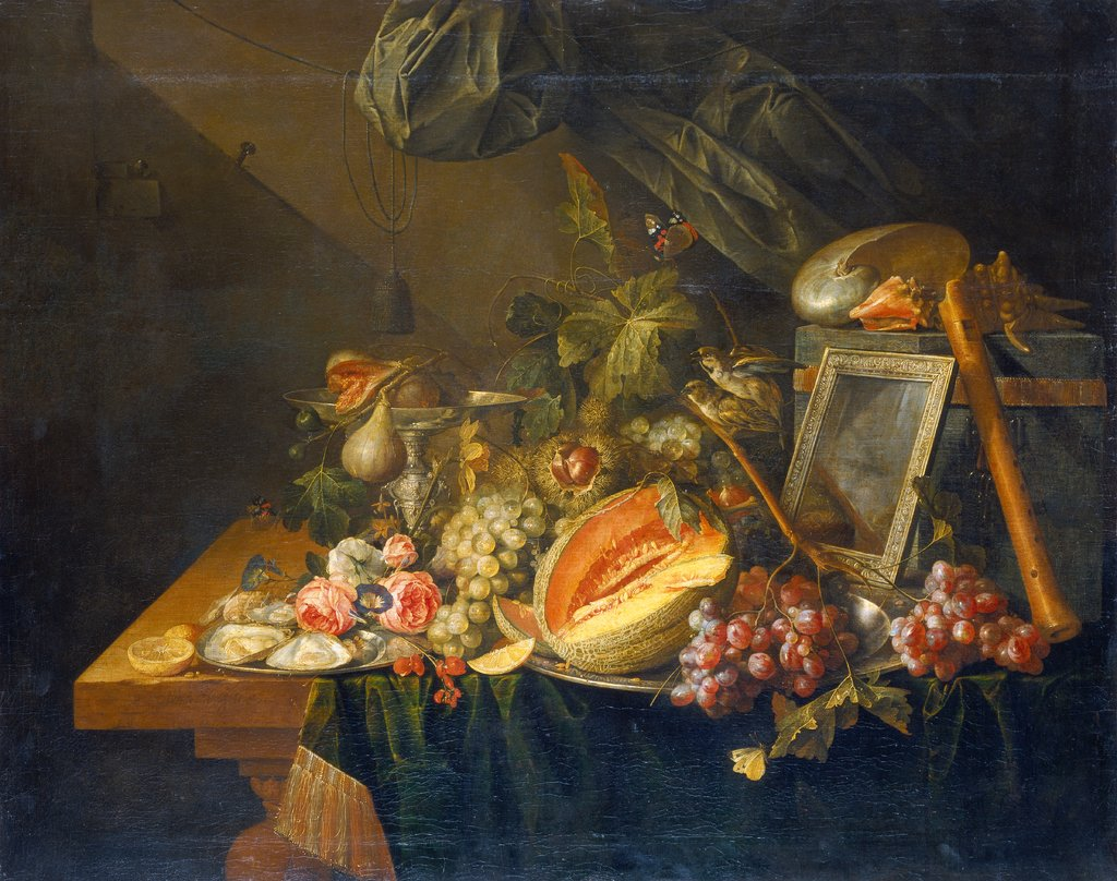 Still Life with Copulating Sparrows, Cornelis de Heem