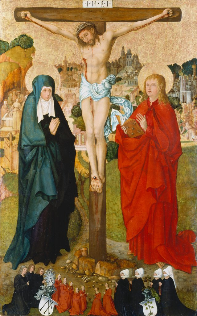 The Crucifixion with Donor Portraits of Wigand Märkel and His Family, Frankfurt Master ca. 1500, Hans Kaldenbach  workshop ?