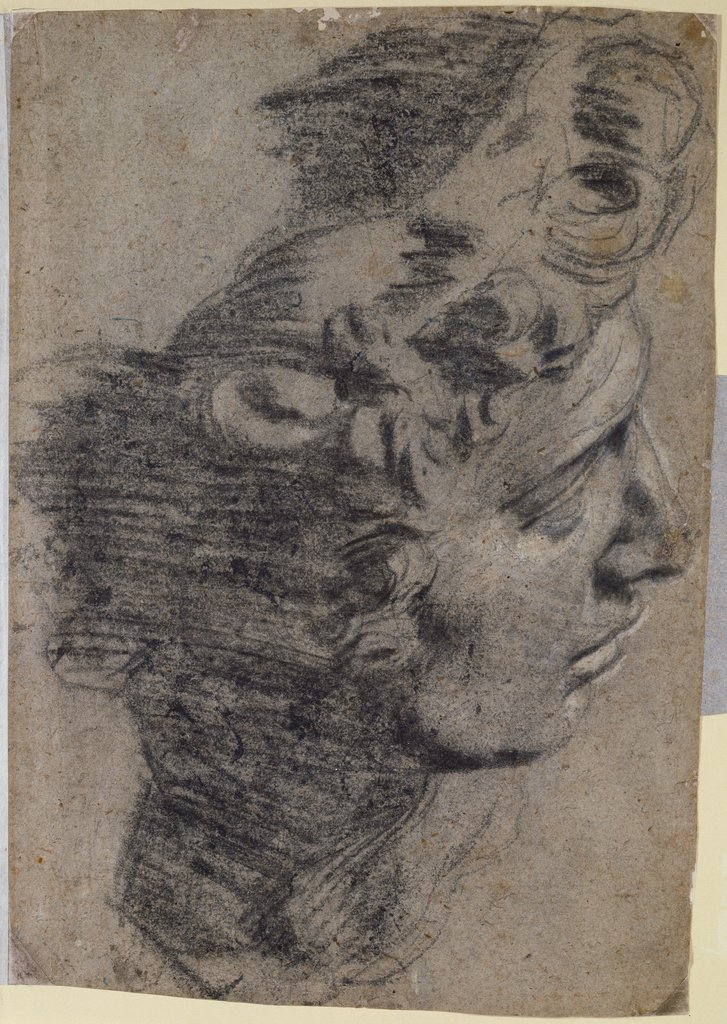 Study after the head of Michelangelo's 'Guiliano de'Medici', Tintoretto, after Michelangelo Buonarroti