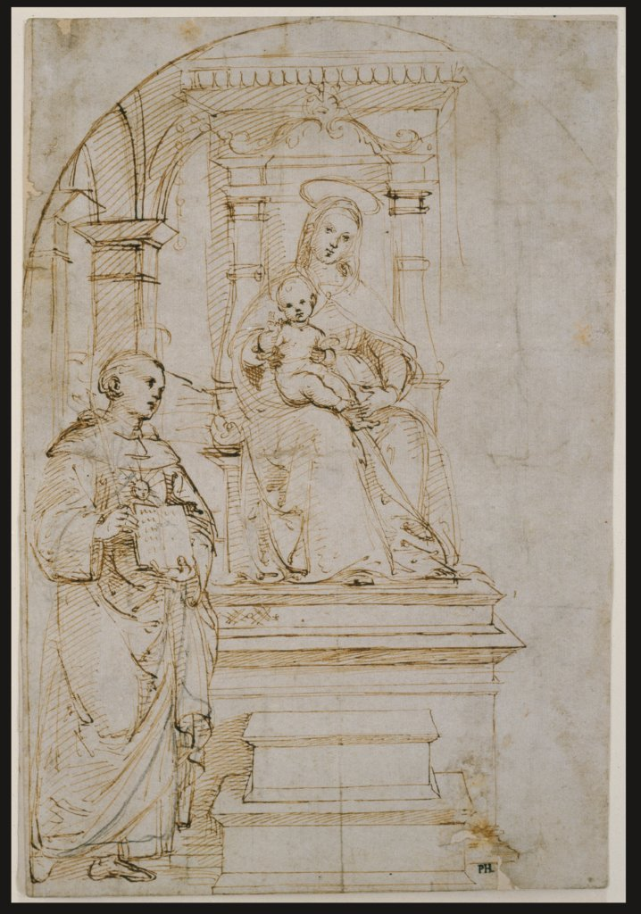 Sketch for an enthroned Virgin and Child with Saint Nicholas of Tolentino, Raphael