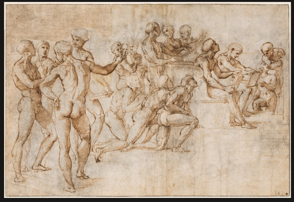 Study for the lower left section of the Disputa, Raphael