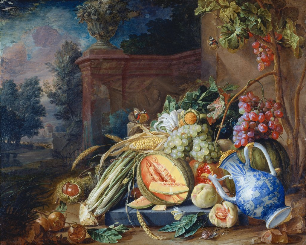 Still Life with Vegetables and Fruit before a Garden Balustrade, Cornelis de Heem