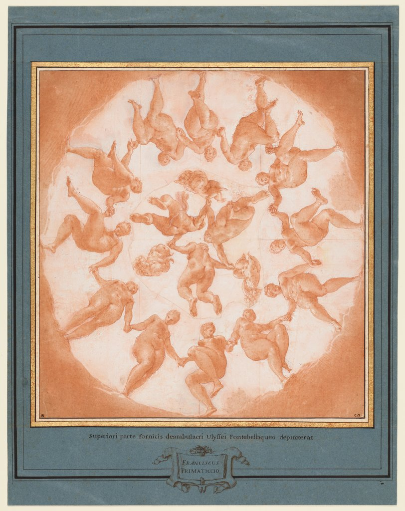 Dance of the Hours (Sketch for the central plafond painting of the Galerie d'Ulysse in Fontainebleau), Francesco Primaticcio