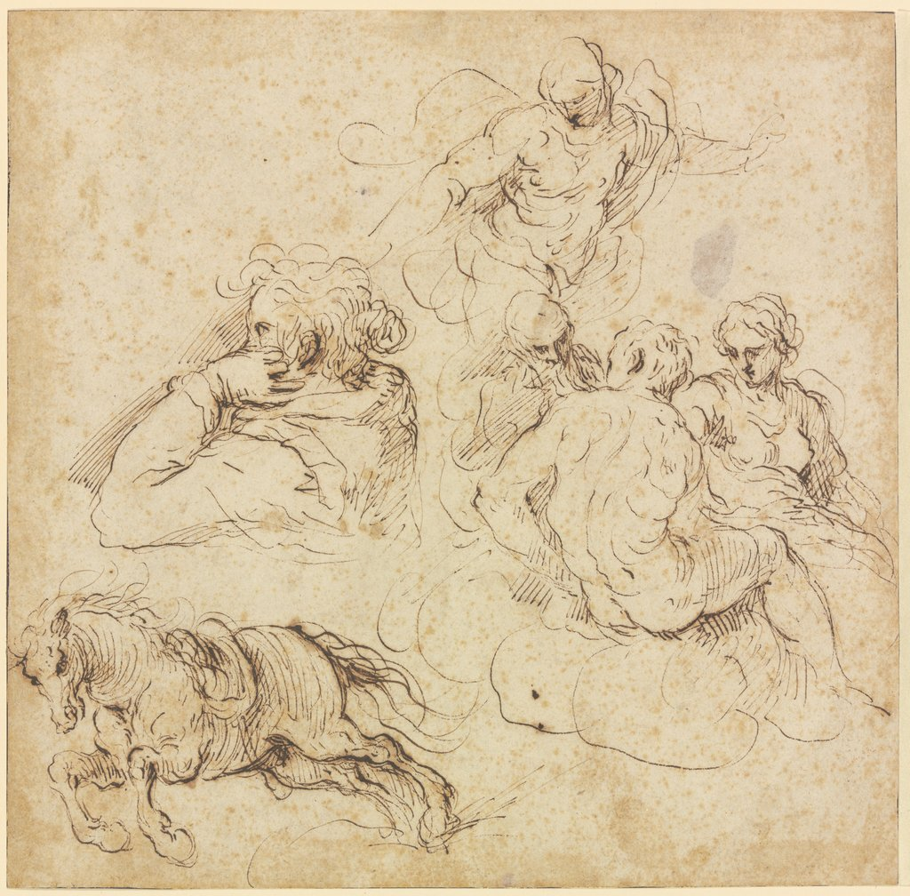 Study sheet with galloping horse, a woman in profile looking left, a group of figures on clouds and an angel, Jacopo Palma il Giovane
