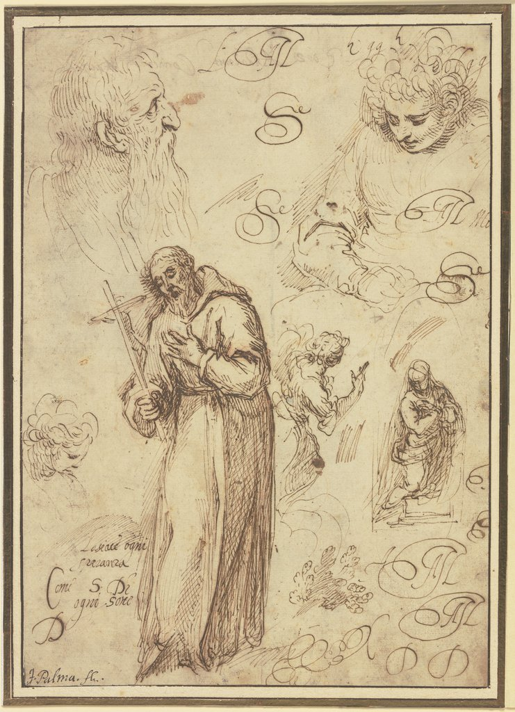 Study sheet with St Francis, an Annunciation and three studies of heads, Jacopo Palma il Giovane