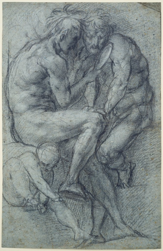 Studies of nudes (two men, seated, looking in a mirror, and a seated boy), Jacopo Pontormo