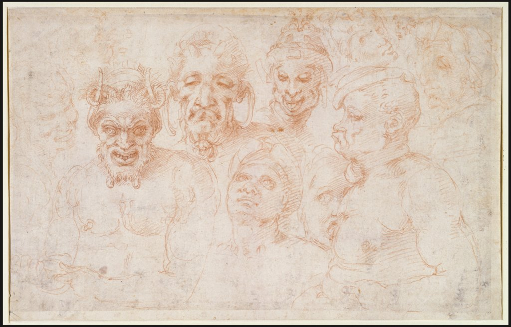 Grotesque heads and further studies, Michelangelo Buonarroti, Michelangelo Buonarroti  school