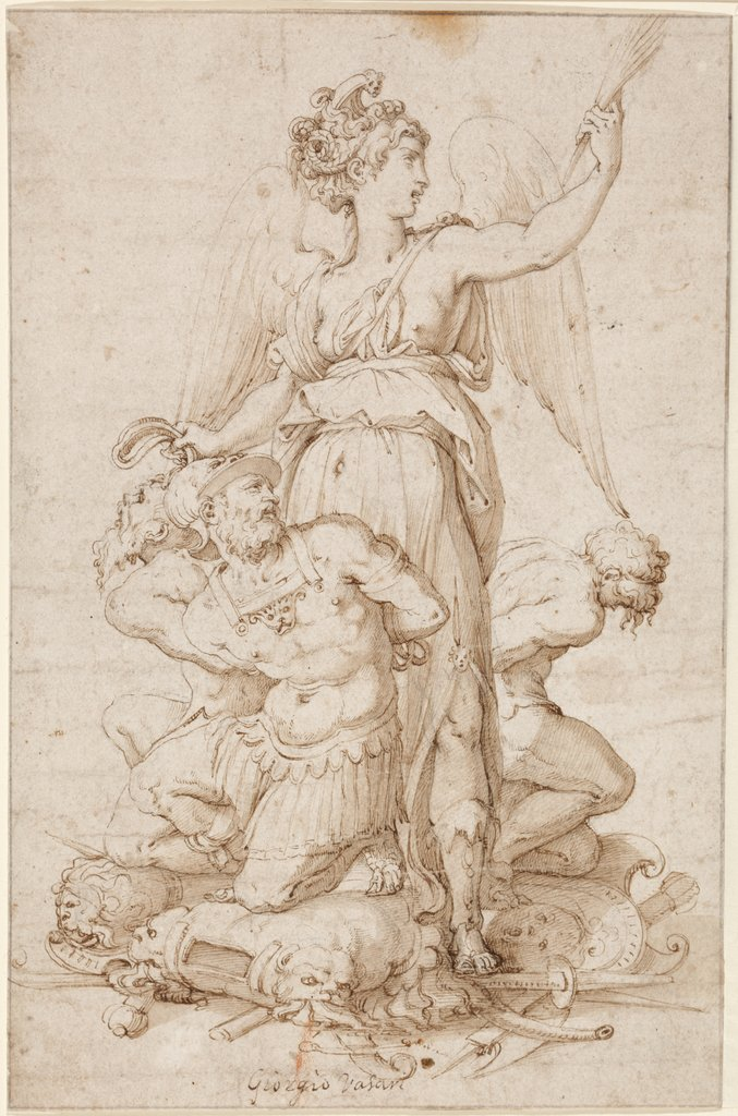 Victory with three Prisoners kneeling on Trophies, Giorgio Vasari