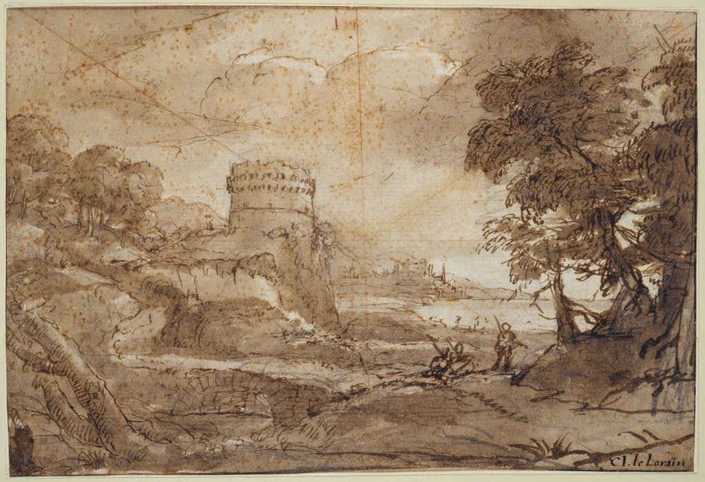 Landscape with a Round Tower and Bay, Claude Lorrain