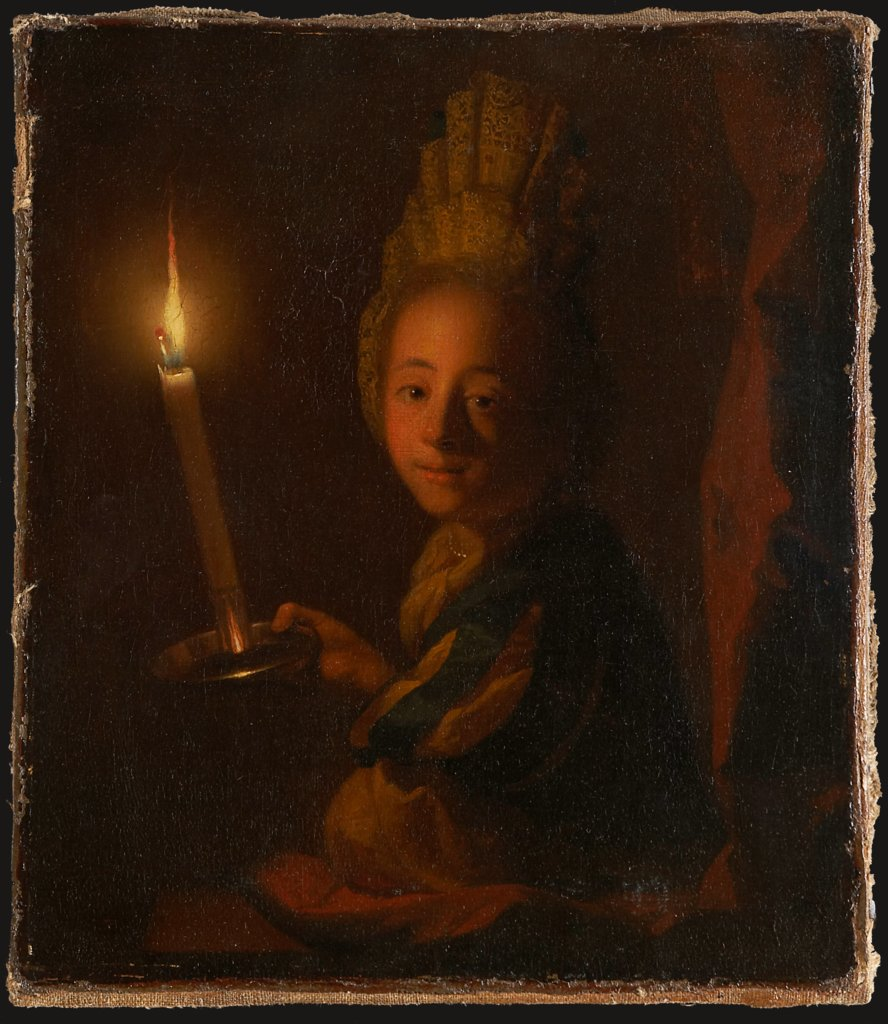 Girl with Burning Candle, Godfried Schalcken