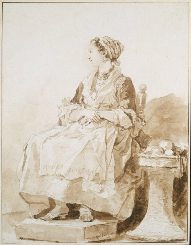 Neapolitan Woman, sitting outside, Jean-Honoré Fragonard