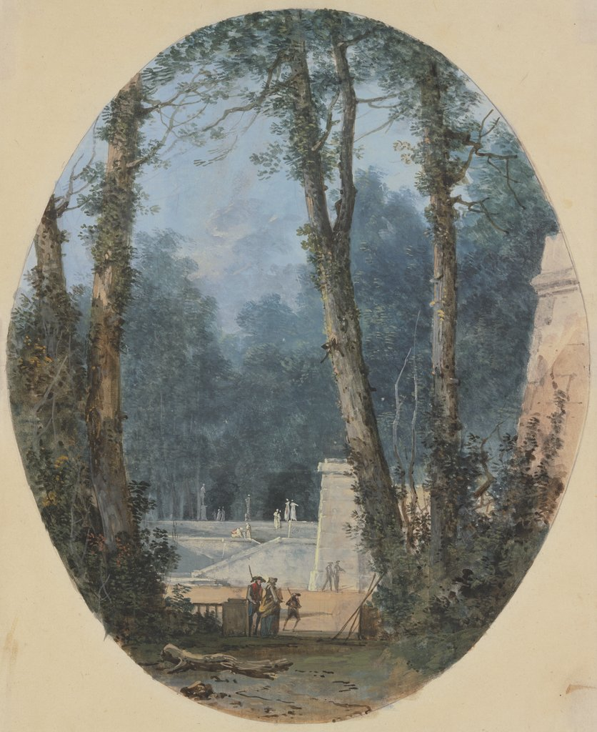 Park Landscape with Tall Trees and Stone Ramp in Mid-Field, Louis Gabriel Moreau