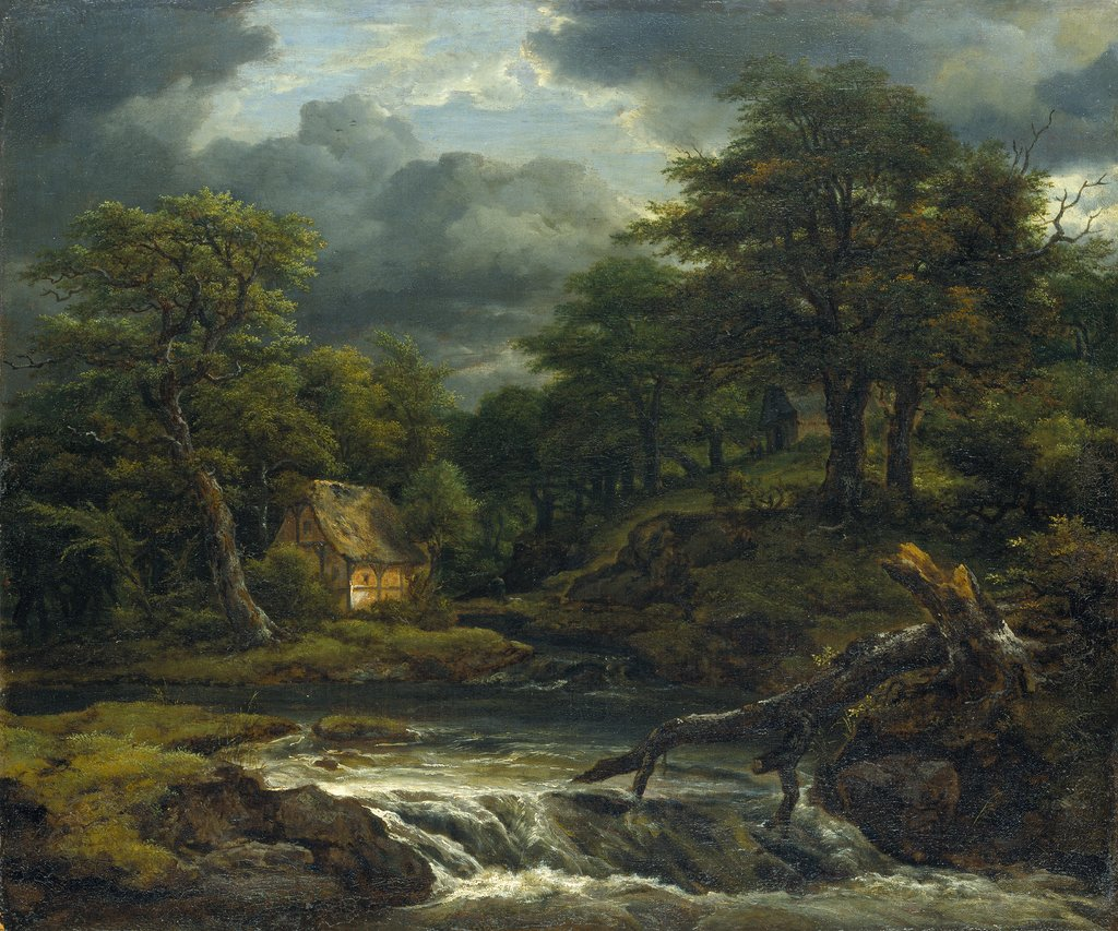 Wooded Landscape with Waterfall and Approaching Storm, Jacob Isaacksz. van Ruisdael