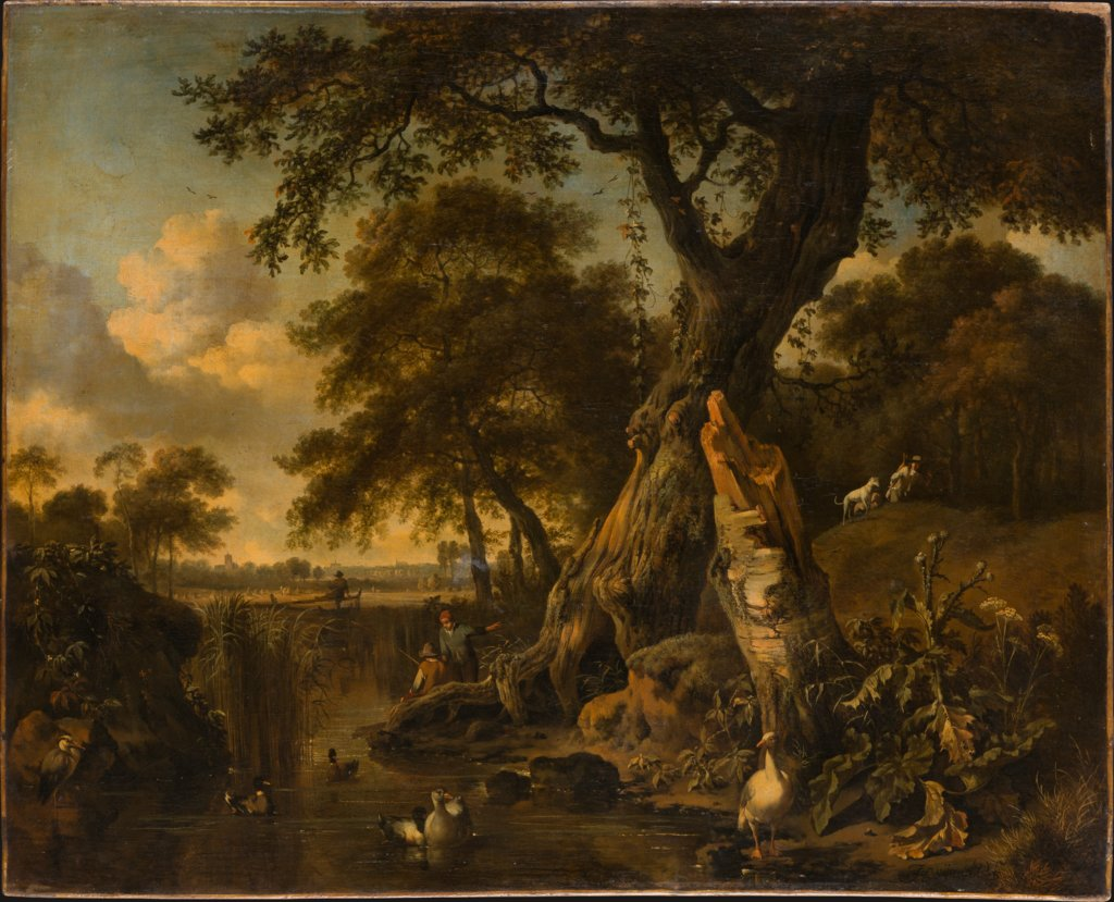 River Landscape with Fisherman and Hunter, Jan Wijnants, Johannes Lingelbach, Dirck Wijntrack
