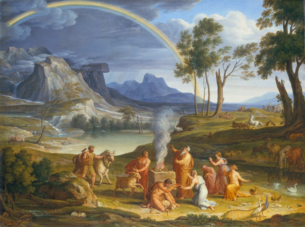 Landscape with Noah, Offering a Sacrifice of Gratitude, Joseph Anton Koch, Gottlieb Schick