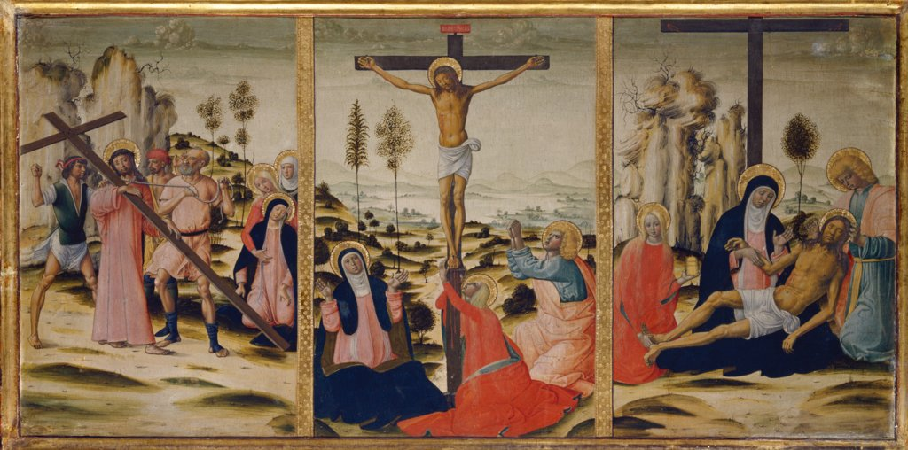 The Bearing of the Cross, The Crucifixion and The Lamentation, Girolamo di Benvenuto