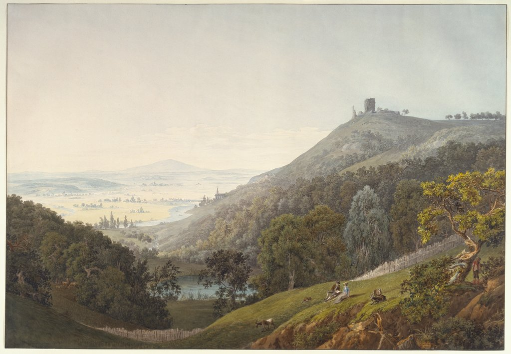 The Ruin of Kalsmunt near Wetzlar. Ruin on a Mountain, View across a Broad River Valley. A Couple Reading in a Meadow in the Foreground, Friedrich Christian Reinermann