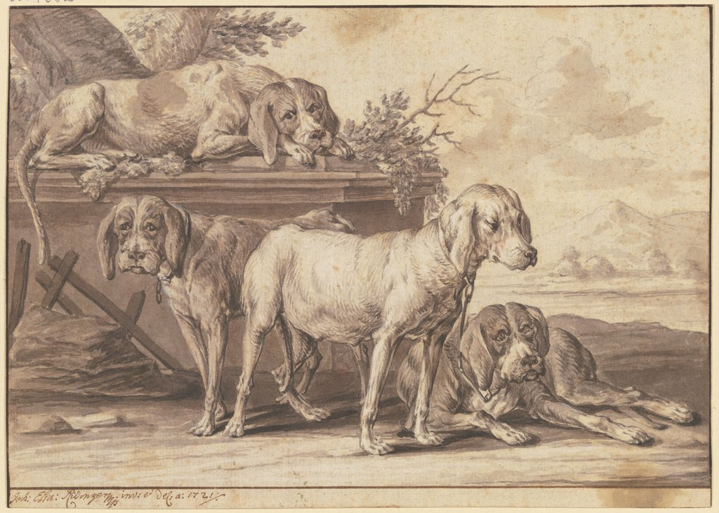Four hunting dogs, Johann Elias Ridinger