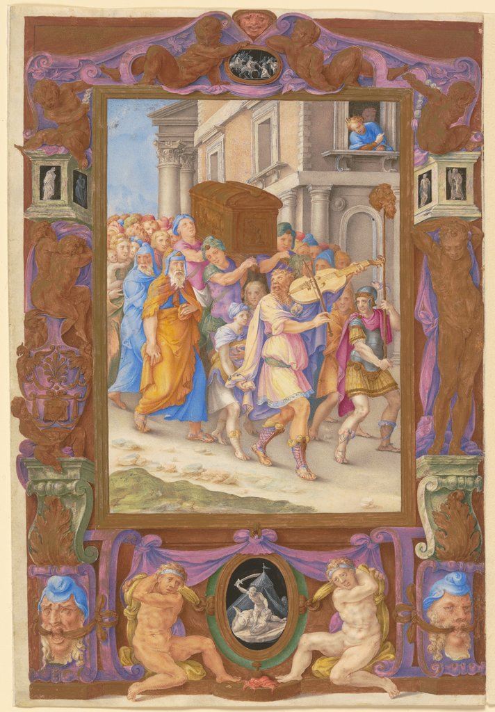 King David Dancing before the Ark of the Covenant, in a Decorative Frame, Giulio Clovio
