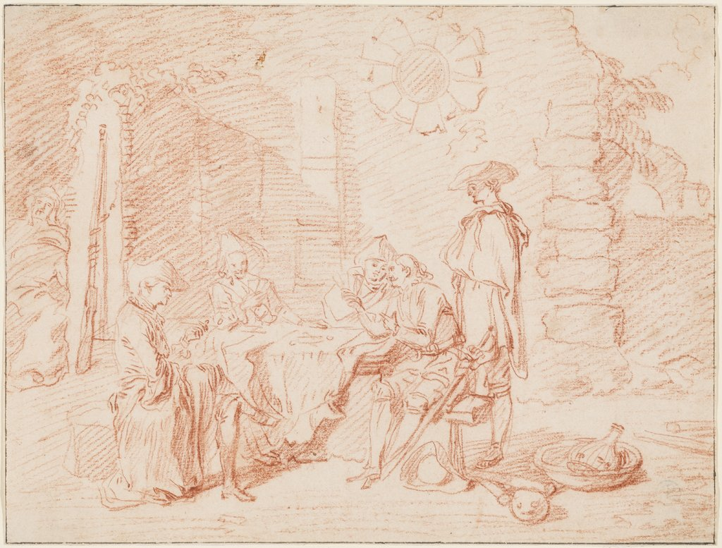 Soldiers Playing Cards in a Ruin, Jean-Antoine Watteau