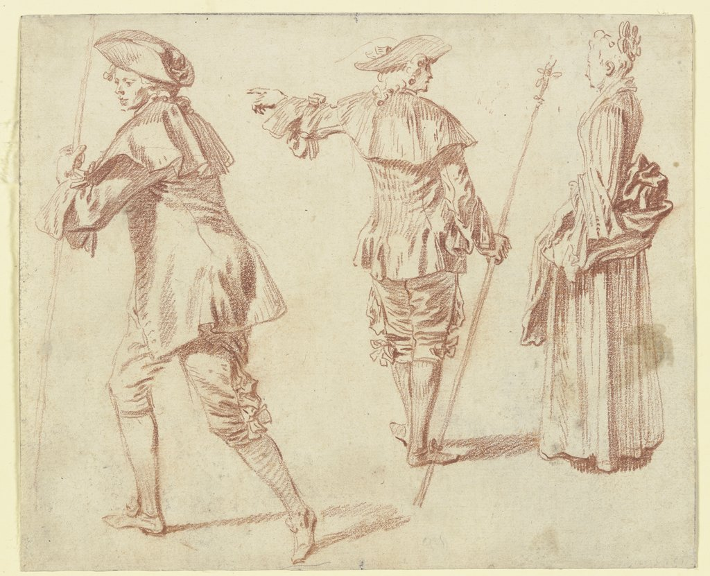 Two Pilgrims and a Standing Woman in Profile, Jean-Antoine Watteau