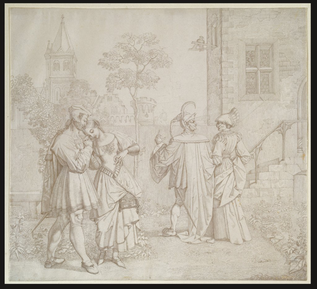 Drawing for Goethes Faust: The Stroll in the Garden, Peter von Cornelius