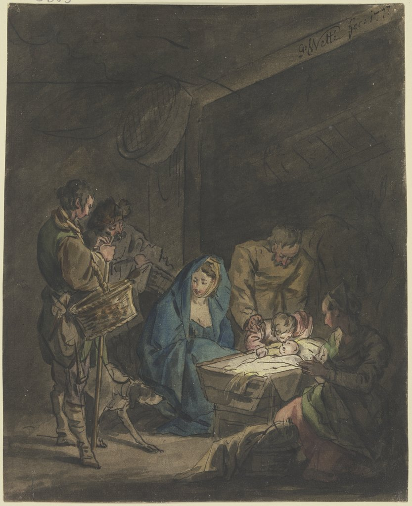 Adoration of the shepherds, Gottlieb Welté