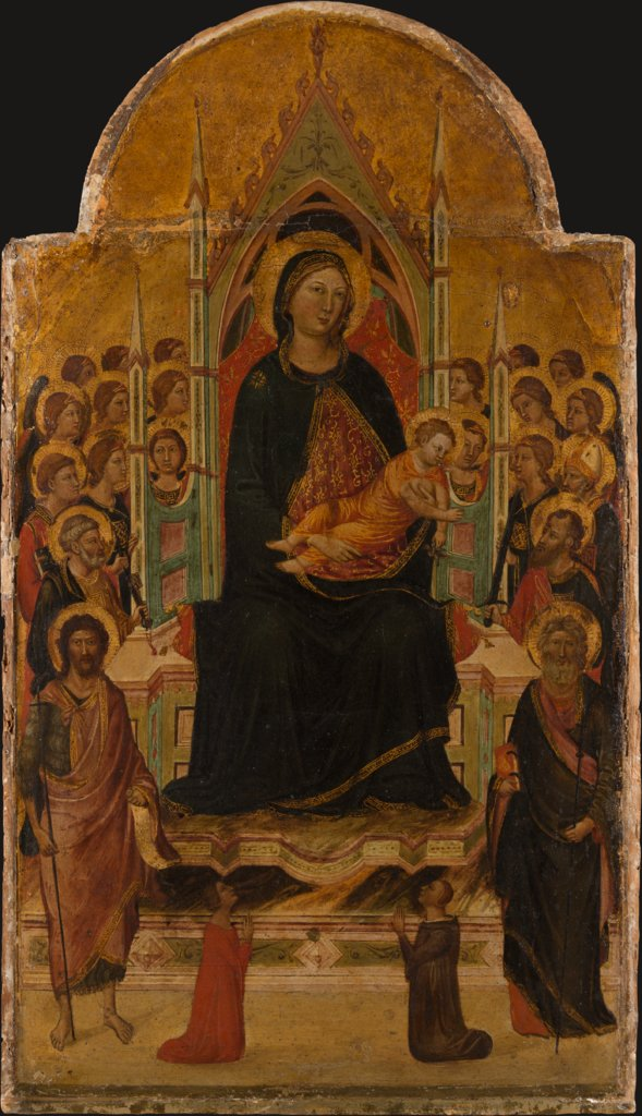 Madonna and Child Enthroned with Angels, Saints and Donors, Jacopo del Casentino