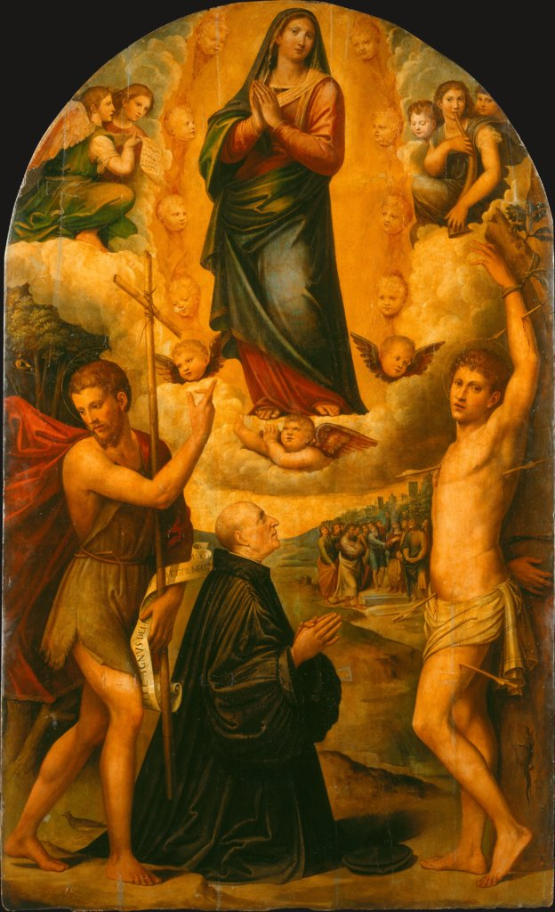 The Assumption of the Virgin with Saint John the Baptist, aint Sebastian and a Donor, Giacomo Francia, Giulio Francia