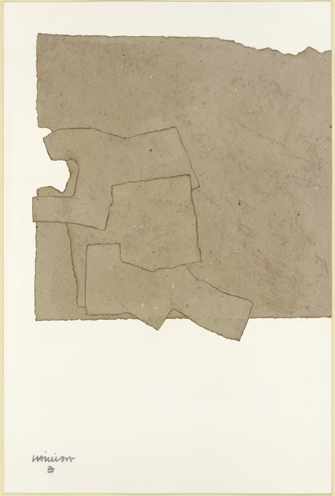 Komposition, Collage beige auf weiß, Eduardo Chillida