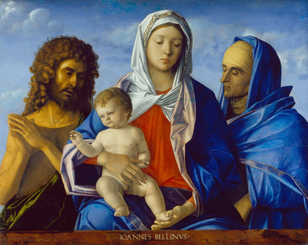 Madonna and Child with Saints John the Baptist and Elizabeth, Giovanni Bellini  und Werkstatt