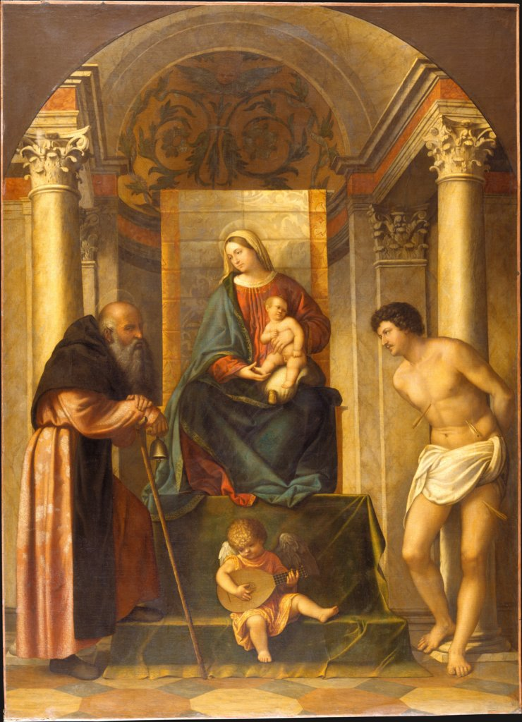 Virgin and Child Enthroned with Saints Anthony Abbot and Sebastian, Moretto da Brescia  circle