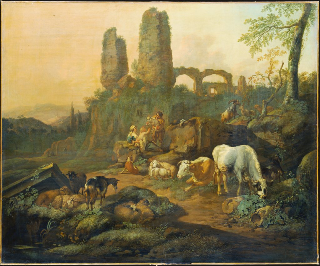 Shepherd Family Resting near an Ancient Ruin, Johann Heinrich Roos