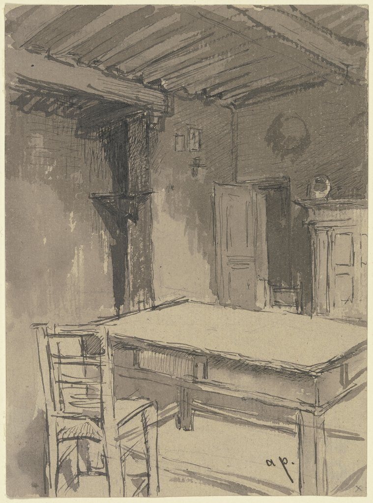 Room with beamed ceiling, August von Pettenkofen