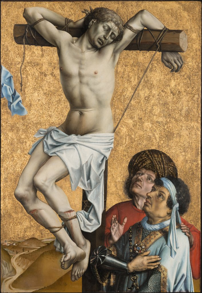 The Bad Thief to the Left of Christ; former exterior wing of the triptych: Saint John the Baptist (fragment), Master of Flémalle, Robert Campin  workshop