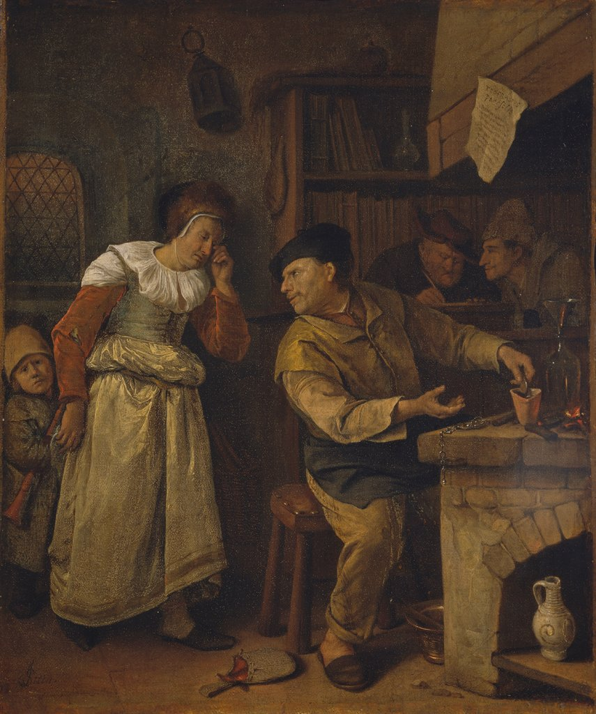 "A Goldsmith Melting Down a Woman's Jewellery in the Presence of a Notary: ""The Alchemist"", Jan Steen"