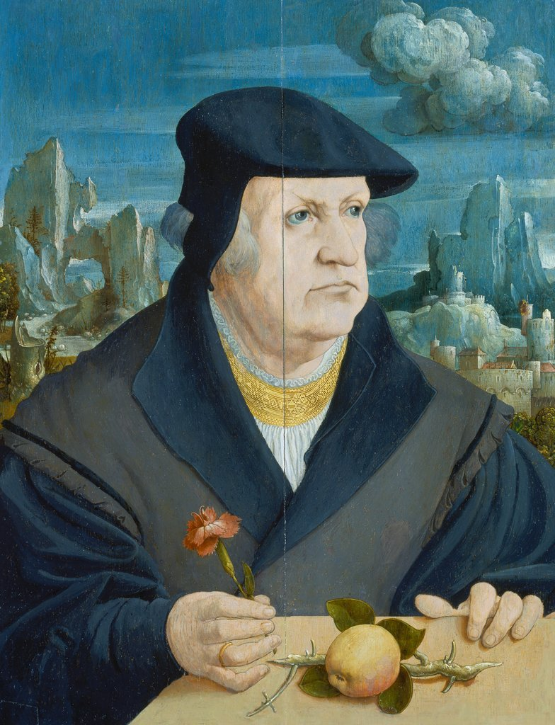 Portrait of a Man in a Landscape holding a Carnation, Gerlach Flicke   ?
