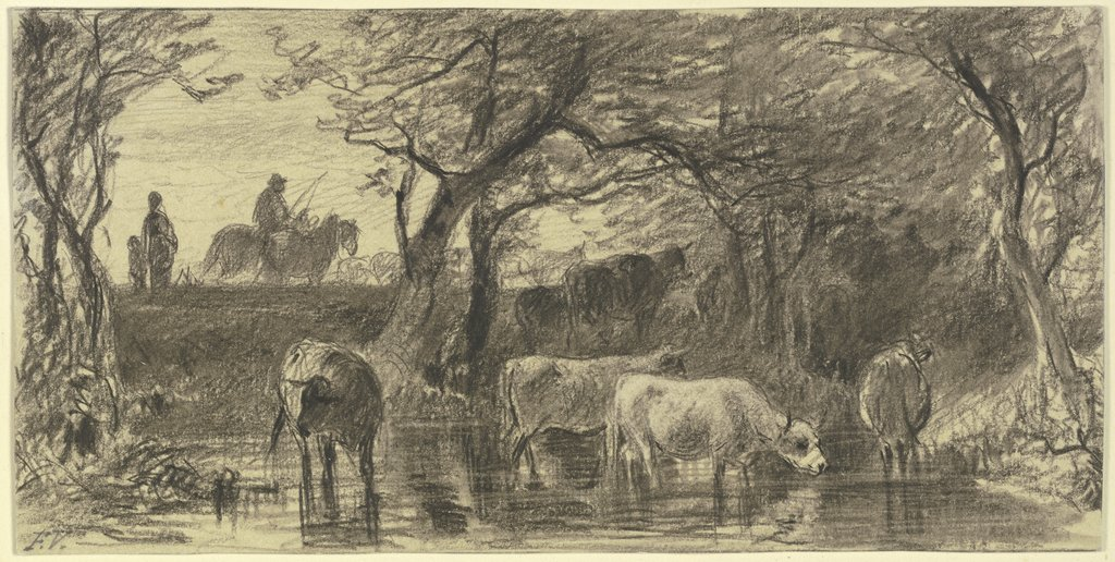 Cows drinking, Friedrich Voltz